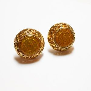 Vintage Chanel Gold Plated Clip Logo Earrings